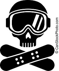 Snowboarding skull with hat and board