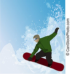 Snowboarder in the air on abstract background reminding of snow and beautiful blue sky, also with space for text.