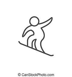 Snowboarding sport line outline icon