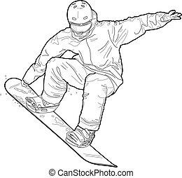 snowboarding, technical illustration