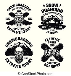 Snowboarding vector emblems, badges, labels, logos