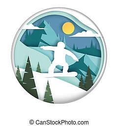 Snowboarding, vector illustration in paper art style