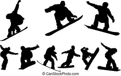 snowboarding, vektor, -