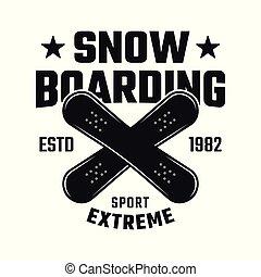 snowboarding, vetorial, emblema, com, dois, cruzado, placas