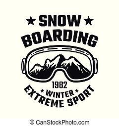 snowboarding, vetorial, emblema, com, esqui, óculos