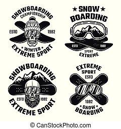 snowboarding, vetorial, emblemas, emblemas, etiquetas, logotipos