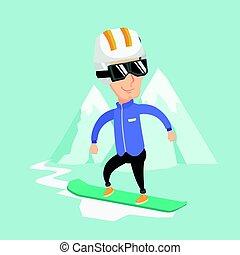 snowboarding, vettore, illustration., uomo, adulto