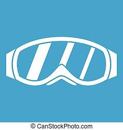snowboarding, weißes, brille, ikone