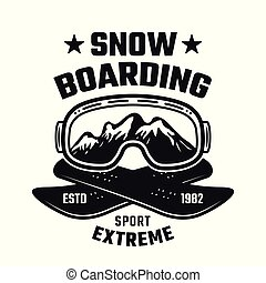 Snowboarding winter extreme sport vector emblem