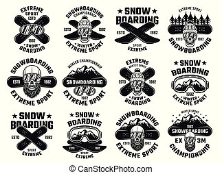 Snowboarding winter extreme sport vector emblems