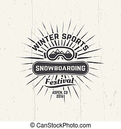 Snowboarding, winter sports vector black emblem