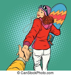 snowboarding woman extreme winter sport follow me concept