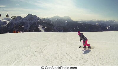 Snowboarding woman - Beautiful full HD action video footage...