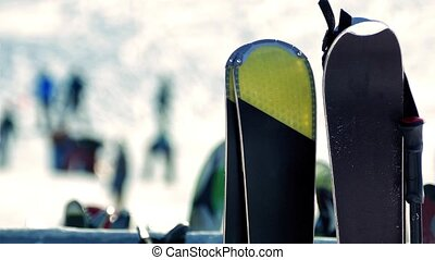 Snowboards At Ski Resort Closeup - Closeup shot of...