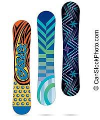 snowboards isolated on white background - set on three...
