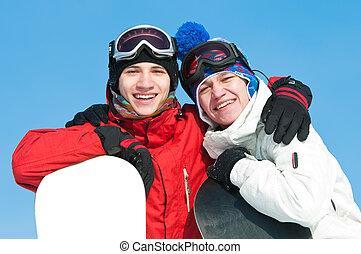 snowboards, sportler, glücklich