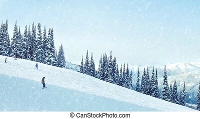 snowboards, tomber, neige, famille