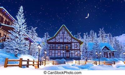 Snowbound alpine mountain village at winter night