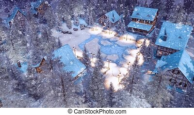 Snowbound alpine township at winter night top view