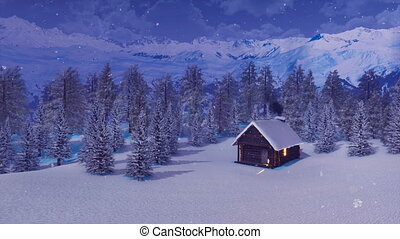 Snowbound house in mountains at snowy winter night