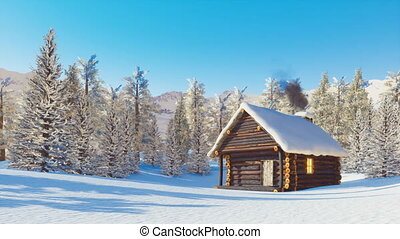 Snowbound log cabin in mountains at winter day