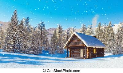 Snowbound mountain cabin at snowfall winter day - Cozy...