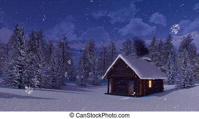 Snowbound mountain cabin at snowfall winter night - Cozy...