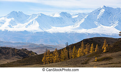 Snowbound mountain North-Chuya ridge of Altai Republic, Russia.