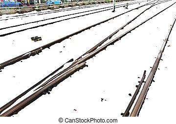 snowbound rails in winter