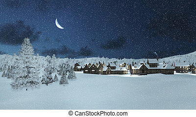 Snowbound township and fir trees at snowfall night -...