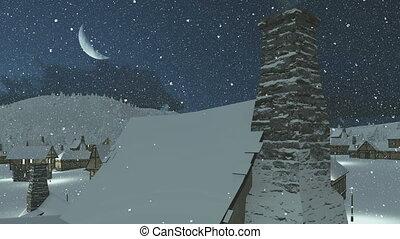 Snowbound village at snowfall night
