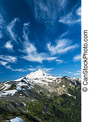 Snowcapped Mount Baker under high cirrus clouds - Beautiful...