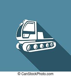 Snowcat icon. Equipment for preparation of the ski slopes....
