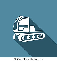 Snowcat icon. Equipment for preparation of the ski slopes....