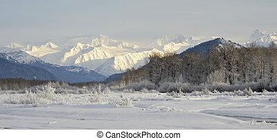 Snowcovered Mountains in Alaska. Chilkat State Park. Mud Bay...