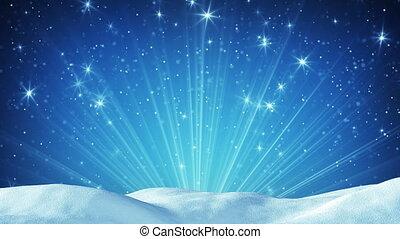 snowdrift and magic light rays seamless loop