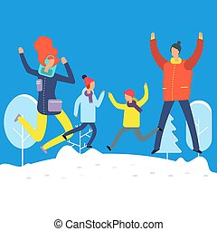 snowdrift, inverno, família, clothes., pular, caráteres, caricatura, feliz