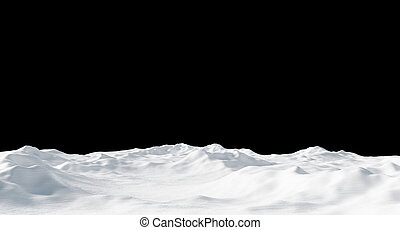 Snowdrift isolated on black background 3D render