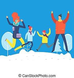 snowdrift, vinter, familie, clothes., springe, bogstaverne, cartoon, glade