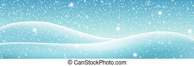 Snowdrifts on a background of blue sky with falling snow