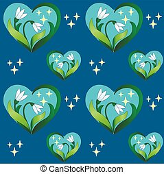 Snowdrop hearts with stars on classic blue background - ...