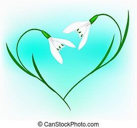 Snowdrop in the form of heart on a blue background