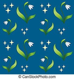 Snowdrops - seamless pattern. Snowdrop flower with leaves ...
