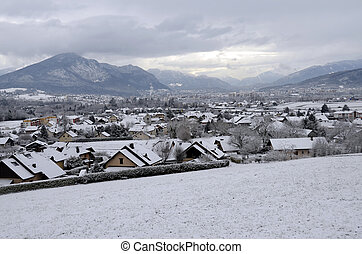 Snowed annecy city and moutains, winter snow landscape, in...