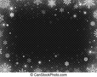 Snowed border frame. Christmas holiday snow, clear frost blizzard snowflakes and silver snowflake vector illustration