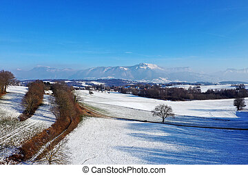Snowed landscape countryside, Annecy, France - Snowed rural...