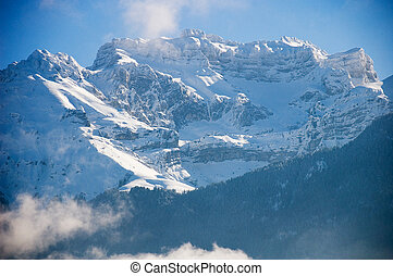 Landscape of Tournette mountain in Annecy, france under snow