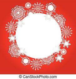 snowf, kerstmis, achtergrond, rood