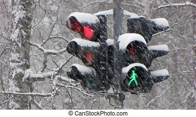 Snowfall 15 - Traffic light: Traffic light progressing from...