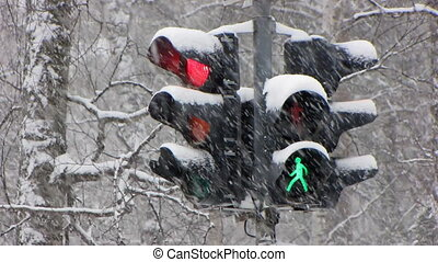 Snowfall 15 - Traffic light: Traffic light progressing from...